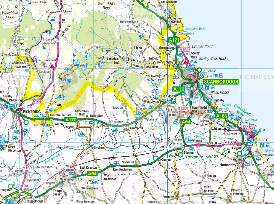 Map Of Northern England.4 Ordnance Survey Road Map Northern England Wall Map